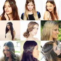 Wholesale Cheap Titanium Jewelry - Cheap Hot Fashion Bohemian Women Metal Head Chain Headbands Hair Jewelry Forehead Dance Headband Piece Wedding Accessories Hippie Crown