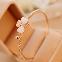 Wholesale Opal Inlay Bracelet - Wholesale-Big Sale New Fashion Jewelry Sweet Gold Plated Zirconia Tennis Micro Inlay Clover Opal Charm Bracelet Bangle for Women J100148
