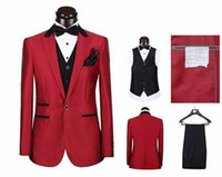 Wholesale Cheap Tuxedos Vests - New Custom made three pieces groom tuxedos cheap red wedding suits Hot Sale Groomsmen Tuxedos (Jacket+Pant+Vest+Tie)
