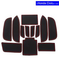 Wholesale Carpet Car - Car Door Gate Slot Mats Carpets Position Cup Holder Pads For Honda Civic 2006~2011 2012 2013 2014 2015 2016 2017 Door Groove Mat