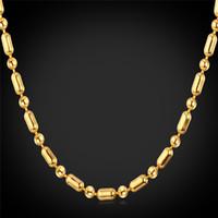 altın top zincir kolye kadın toptan satış-Unisex Altın Top Zincir Maç Kolye Platin / 18 K Altın Kaplama Kadın Erkek Ince Boncuk Zincir Kolye