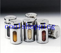 Wholesale DHL Freeshipping Rotating castoffs cover set stainless steel spice jar sauce pot condiment bottles toothpick tube Stainless steel Cruet