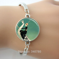 Wholesale Art Deco Tins - Art Deco Jewelry Woman on White Peacock Emerald Green Peacock bracelets bangles Glass Dome Art Pendant bangles with extra chain