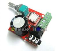 Wholesale Power Amps Kits - Small Digital Audio Amplifier 12 Volt Board 10W+10W Two Channel PC Power Amp Class-D Stereo Ampli kit #LU03