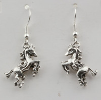 Wholesale wire horses for sale - Group buy Earring Pair Antiqued Silver D Horse Charm Earrings With silver Fishhook Ear Wire X mm