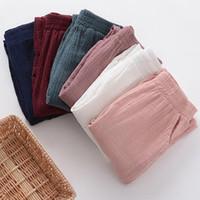 Wholesale cotton linen trousers women - Wholesale-Women Spring Cotton linen Pants 2017 Original pencil Pants Pockets Trousers Casual Solid Color Pleated Vintage plus size M-6XL