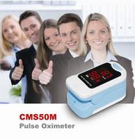ingrosso monitor ossigeno dell'ossimetro di impulsi-CMS50M Punta delle dita Pulsossimetro Blood Oxygen Spo2 / PR Monitor con custodia per il trasporto LED NERO POUCH SPEDIZIONE GRATUITA