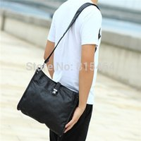 Wholesale Leather Tactical Messenger Bag - Wholesale-Korean designer brand PU black leather men messenger bags outdoors fashion casual male shoulder crossbody bags man tactical bags