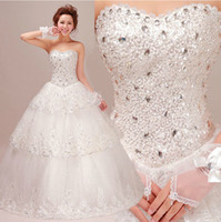Wholesale Sweatheart Backless Wedding Gowns - Newest Luxury Sweatheart Wedding Dresses With Crystals Beads Backless A Line Floor-Length Lace Bling Customed Ivory Bridal Gowns