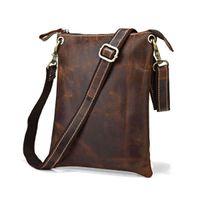 Wholesale Men Bags Across Shoulder - Wholesale-2015 New Arrival Men's Bag High Quality Genuine Leather Shoulder bags Vintage Dark Brown men Messenger Bag Across Body for