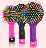 sihirli düz fırça toptan satış-Gökkuşağı Hacmi Anti-statik Sihirli Saç Kıvırmak Düz Masaj Tarak Fırça Ayna Styling Araçları