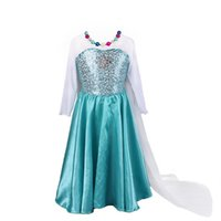 Wholesale Cape Necklaces - Pettigirl Little Girls' Snowflakes Elsa Dress Gift Set With Cape (Dress+Necklace+Bracelet) Free Shipping Kids Clothing Stock in USA