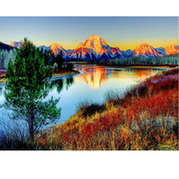 Wholesale River Paintings - NO Frame! 5d diy diamond painting cross stitch kit Diamond embroidery landscape RIVER mountain picture diamond mosaic pattern gift