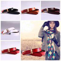 Wholesale Leather Pants Wholesale For Women - Women Automatic Buckles Belt Floral Metal Leather Belts Female Girls Cowhide Waist Belt Straps For Pants LJJO3528