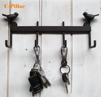 Wholesale Key Holders For Wall - Wholesale- 2017 Durable Iron Metal Wall Key Hook Holder Home Decor Vintage Brown Birds Hooks Hanger for Keys Anzol Stocked