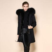 Wholesale Long Skirt Coats - 2015 High Quality parka coat, China fur hood jacket Supen sexy black real fox liner coatpliers, Army green sexy black real fox liner coat