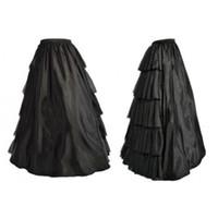 corset de femmes halloween achat en gros de-Femmes gothique Lolita multi-couches à volants longue jupe noire élastique taille haute de bal Corset correspondant jupe pour la fête de Noël Halloween
