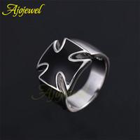Wholesale Enamal Rings - Wholesale-Ajojewel brand classic man jewelry fashion simple cool silver enamal black cross men ring without stone