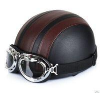 "Wholesale Helmet Ibk - Wholesale-G.03 ""IBK"" Leather Covered portable-type Half Face Casco Motorcycle Black # Silver Stripe Helmet & UV Glasses Adult"