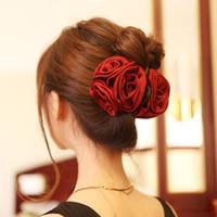 Wholesale Hair Claw Korean - Korean Beauty Ribbon Rose Flower Bow Jaw Clip Barrette Hair Claws for Women Headwear Hair Accessories