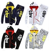 Wholesale Cbv Clothing - Alisister men's fashion clothing set hoody + pants suits print CBV male full sleeve sport tracksuits 2 piece sweat pants women