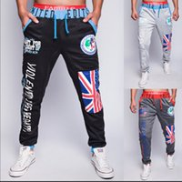 Wholesale Boys Tracksuit Bottoms - Wholesale-Harem Pants Men New Fashion Baggy Tracksuit Bottoms Hip Hop Letters Printed Sweatpants Boys Low Crotch Joggers Jogging Pants