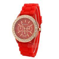 Wholesale Golden Geneva Watches - New Fashion Geneva Watches Vintage Golden Quartz Watches Crystal Rhinestone Watches Silicone Strap Wristwatch For Women Free Shipping