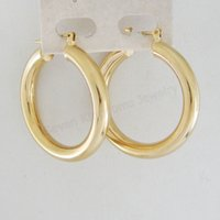 Wholesale 4g Earrings - Wholesale-MIN ORDER 10$ CAN MIX DESIGN NEW 4G 18K YELLOW GOLD GP SOLID OVERLAY FILL BRASS ROUND PLAIN HOOP 35MM 1.38 inch EARRING