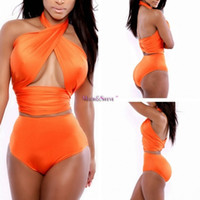 Wholesale sexy plus size swimwear - High Waist Bikini Brazilian Bikinis Set Vintage Push up Swimwear Crochet Bathing Suits Plus Size New Sexy Bandage Swimsuit