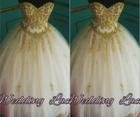Wholesale Lace White Vintage Quinceanera Dress - Applique Crystals Quinceanera Dresses Sweetheart Ball Gown Tulle Floor Length Gold Vintage Sleeveless Quinceanera Gowns Q27