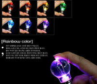 Wholesale Fun Keychains - 300pcs Mini Fun interesting Colorful LED Flashlight Light Bulb Key Ring Keychain Lamp Promotion gift Wholesale