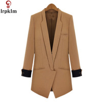 Wholesale Three Quarter Sleeve Down Jackets - 2017 New Spring Autumn Black Camel Jacket Three Quarter Sleeve Slim Suit Covered Button Turn Down Collar Women Jacket S-XL YY536
