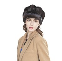 Wholesale White Fur Hats Mink - Wholesale-Luxurious Genuine Mink Fur Caps Fashion Womens Real Mink Fur Visor Peaked Hats Winter Warm Headgear AU00513