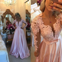 Wholesale winter special occasion dresses online - Latest Pink Long Sleeve Evening Dresses Prom Dresses Lace Button Back Satin Formal Evening Gowns Vestido De Noche Special Occasion Dresses