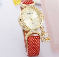 Wholesale Red Hour Glass Dress - Luxury Diamond Kimseng Lady Dress Watches Moon Star Pendant Wristwatches Women Leather Dress watches Crystal hours gold Wristwatch