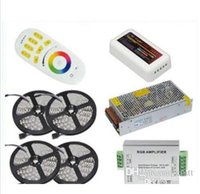 Wholesale Rgb Strip Lighting Amplifier - 1set best quality 20M 5050 RGB LED Strip Light 60Leds M Flexible Led Ribbon Tape + Wireless Touch Remote Controller+24A Amplifier+20 A Power