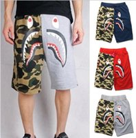 Wholesale Knee Length Pants For Women - New Beach pants Kanye West Fear of God spoof shark camouflage shorts for men and women Loose Couples casual sports pants