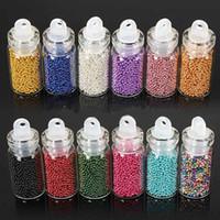 nail art perlen farbe großhandel-12 verschiedene Farben / Set Tiny Circle Bead Dekoration 3D Nail Art Perlen Caviar Nail Art Flasche Set 6185
