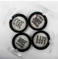 extensions de cils curl achat en gros de-3D Magnetic Eye Lashes Trois / Dual Magnetics Faux Cils Extension 3D Curl Full Strip Faux Cils Magnétique Faux Cils Maquillage Des Yeux