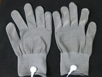 Wholesale Fiber Gloves - Conductive Electrode Gloves Body Relax Massager Reuse Physiotherapy massage Gloves Silver Fiber Acupuncture Massage Gloves