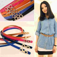 Wholesale Cute Skinny Belts - Fashion Women Ladies Slender Waist Belt Cute Thin Skinny Waistband Belt PU Leather Belts Brown