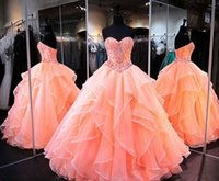 Wholesale Quinceanera Dresses Red Bling - Fashion Beaded Rhinestones Quinceanera Dresses Bling Sweetheart Neck Sweet 16 Masquerade Ball Gowns Organza Crystals Debutante Ragazza Dress