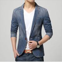 Wholesale Cowboy Clothes For Men - Men's Casual Slim Fit Denim Blazer Coat Jacket Suits for Men Man Spring Cowboy Suit Petite single button Clothing 2 color Free shipping