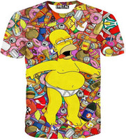 Wholesale Simpson Flash - [Alice]free ship 2015 Europe and America Top Hot big Belly Simpson cartoon 3d t shirt men print tee summer casual T-shirt T1531