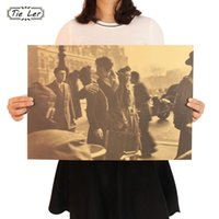 Wholesale Hall Poster - TIE LER The Kiss in Front of the Town Hall Retro Poster Decorative Home Kraft Paper Movie Poster Drawing Wall Sticker 51.5X36cm