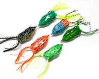 Wholesale Soft Plastic Bass Fishing - Bass freshwater Crankbait fishing Lure 5.5cm 12.5g 3D eyes topwater Floating soft Ray frog plastic poper bait