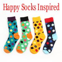 Wholesale wholesale polka dot socks - Happy socks style fashion high quality men's polka dot socks men's casual cotton socks 8 colors 24pcs=12pairs