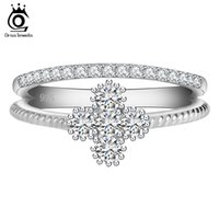Wholesale Sweeter For Women - ORSA New Arrival Women Wedding Rings Platinum Plated Clear Zircon Sweet Flower Shape Ring for Ladies OR64