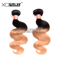 Wholesale 24 Hair Extensions Dark Red - 8A Grade Peruvian Ombre Hair Extensions 1B 27 Wine Red Ombre Human Hair Weaves 1 Bundles Lot 10-30 inch Body Wave Ombre Hair