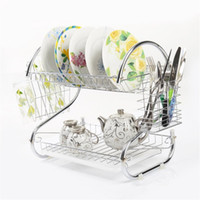 Wholesale Folding Cup Holders - 2 Tiers Kitchen Dish Cup Drying Rack Drainer Dryer Tray Cutlery Holder Organimaking your space more neatzer